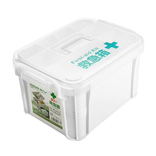 FaSoLa Dual-layer Polypropylene Medicine Storage Case Box (White, (Polypropylene Storage Box)