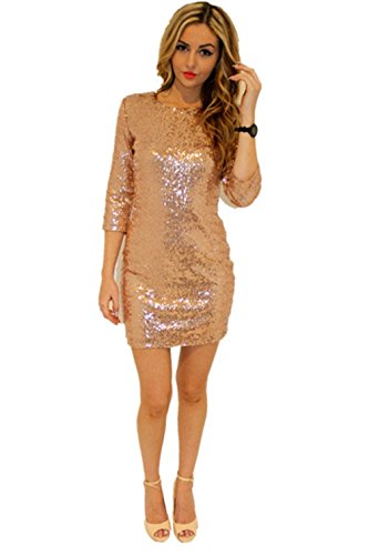 TowerTree Women's Sparkle Glitter Sequin 3/4 Sleeve Bodycon Club Party Dress, Gold, Small