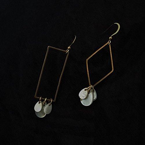 ## fisherman handmade original minimalist geometric retro metal mother of pearl earrings earrings asymmetric Generic