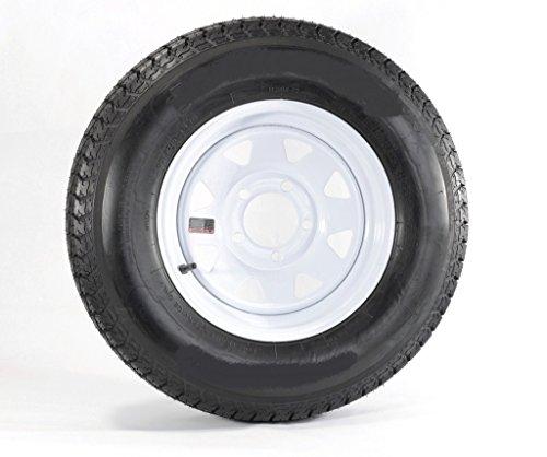 2-Pack Radial Trailer Tire On Rim ST205/75R15 Load Range D (5 On 5) White Spoke