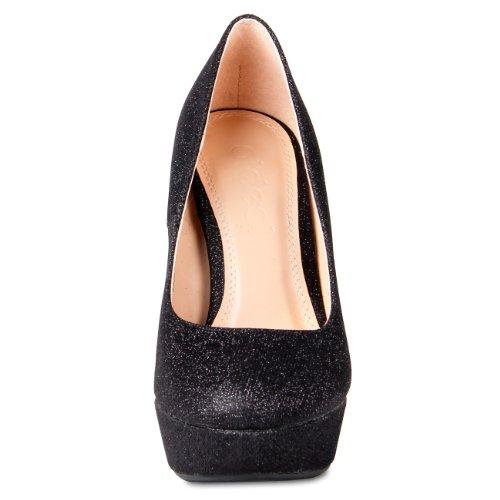 CASPAR Damen High Heels / Pumps mit Plateau Absatz im Glamour Look - schwarz - SBU002 Schwarz