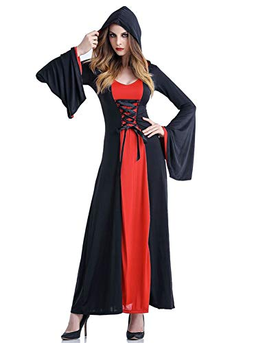 Tutu Dreams Adult Halloween Black Witch Death Vampire Hooded Robe Cloak Lace up -