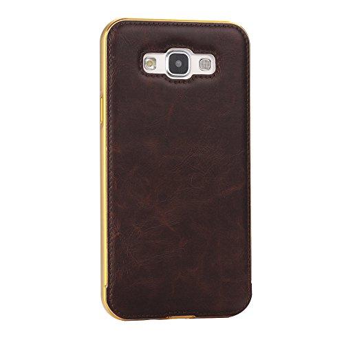 Samsung Galaxy A7 Funda Case LifeePro Stylish 2 in 1 Patrón de teléfono híbrido Caballo Loco [Anti-rasguños] [Antideslizante] Resistente a los golpes PU Cuero Marron oscuro Contraportada + Caja de par Dorado