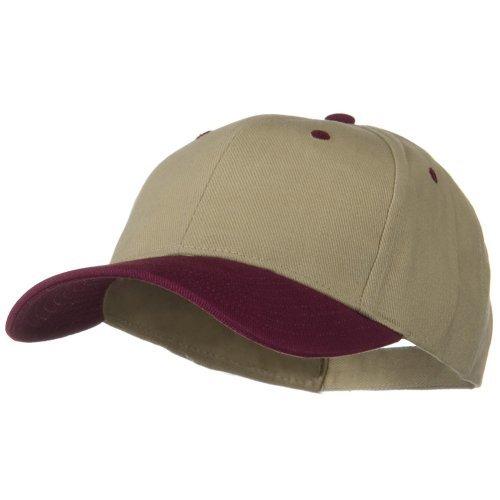 2 Tone Brushed Bull Denim Mid Profile Cap - Maroon Khaki OSFM -