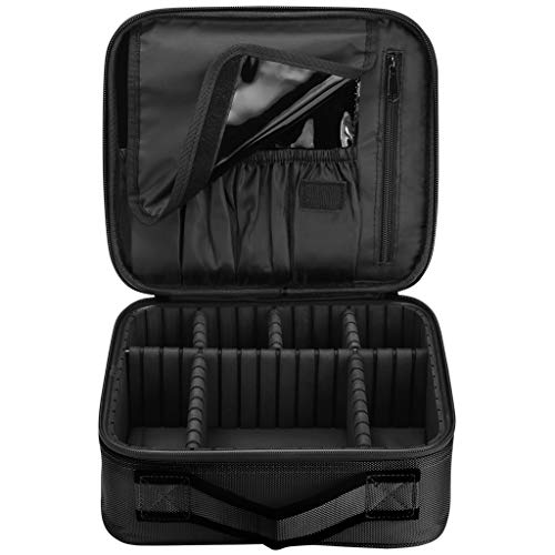 Travel Makeup Cosmetic Bag Portable Storage Case Waterproof Organizer Boxes with Removable Dividers?Black?