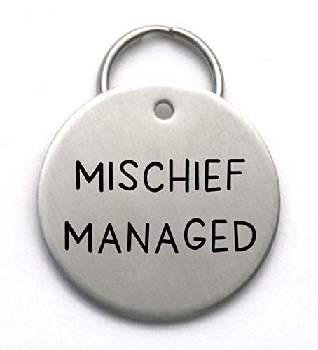 Funny Dog Tag -Mischief Managed - Stainless Steel Pet Name ID Tag