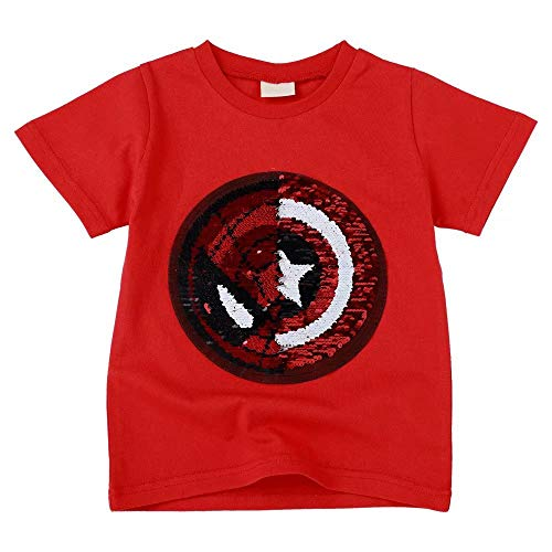 Tsyllyp Boys Kids Spider-Man Captain America Sequin T-Shirt Cotton Top Shirts 5-6 ()