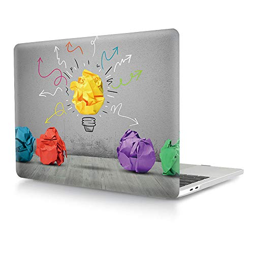 HRH Creative Paper Bulb Matte Clear Laptop Body Shell Protective PC Case Cover for MacBook New Pro 15 Case 2018 2017 2016 Release A1990/A1707 with Touch Bar (Pack Case 15 Bulb)