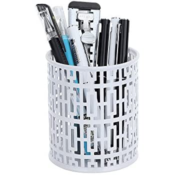 Amazon Com Crystallove Metal Carved Hollow White Pencil Holder Office Products