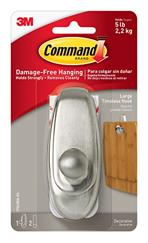 Command Timeless Hook, Large, Brushed Nickel, 1-Hook (17063BN-ES)