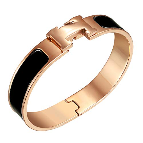 NIMUVIS Womens Fashion Titanium Steel Bracelets Buckle Bangle Love Bracelet Enamel Bracelet Jewelry for Women (Black-Rose Gold)