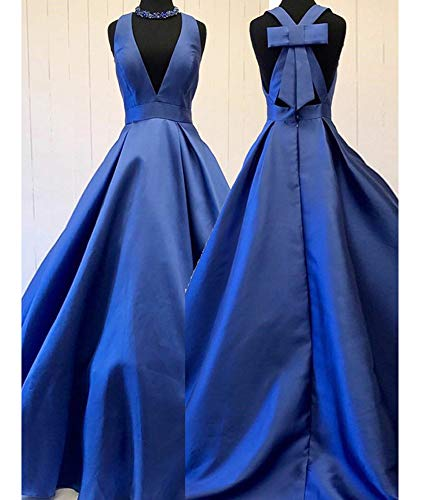 Formal Satin Neck Gowns Prom Long V Red Dress Sexy Dreagel A Cross Evening Back line pnS7E