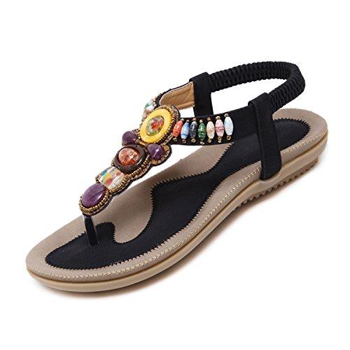 655c5fce1 Zelta Women's Bohemian Style Herringbone Clip Toe Sandals Black 1SU4x