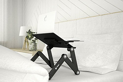 Pwr+ Portable Adjustable Aluminum Laptop Desk-Stand-Table Vented Mount-Notebook-Macbook-Light Weight Mobile Ergonomic Folding TV Bed Recliner Lap Tray Standing Up/Sitting-Black by PWR+ (Image #7)