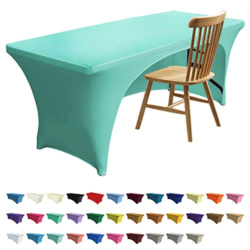 - ABCCANOPY 30+ Colors Spandex Table Cover 6 ft. Fitted Polyester Tablecloth Stretch Spandex Tablecover-Table Toppers(Open Back Aquamarine)
