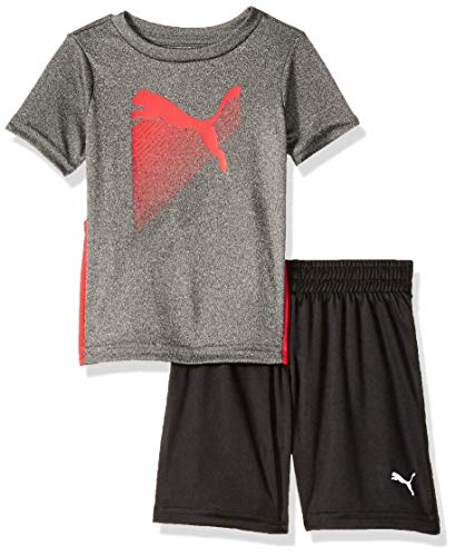 PUMA Baby Boys' T-Shirt & Short Set, Coal Heather Grey, 18 ()