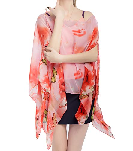 Women's Chiffon Scarve Shawls Wraps Qunsia Floral Poncho Bikini Cover up Tops (Butterfly Red, One ()