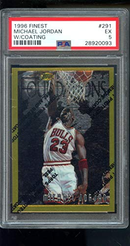 (1996-97 Topps Finest #291 Michael Jordan Foundations Bulls Gold NBA PSA 5 Graded Basketball Card)