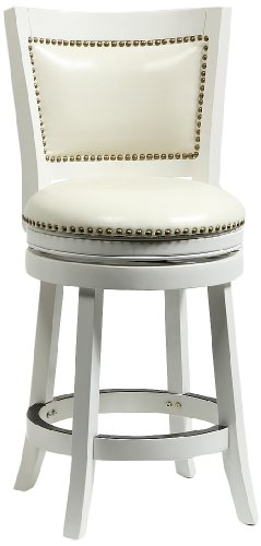 Boraam 42424 Bristol Counter Height Swivel Stool, 24-Inch, Distress White (Cushions Bar Seat Chair)