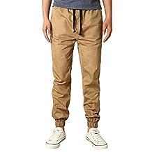 HEMOON Men's Khaki Chino Trousers Casual Sweatpant Drop Crotch Jogger Pants