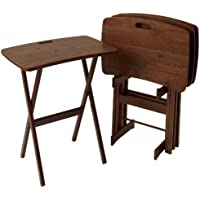 Manchester Wood Portable Folding Tray Table Desk Set of 4 - Chestnut