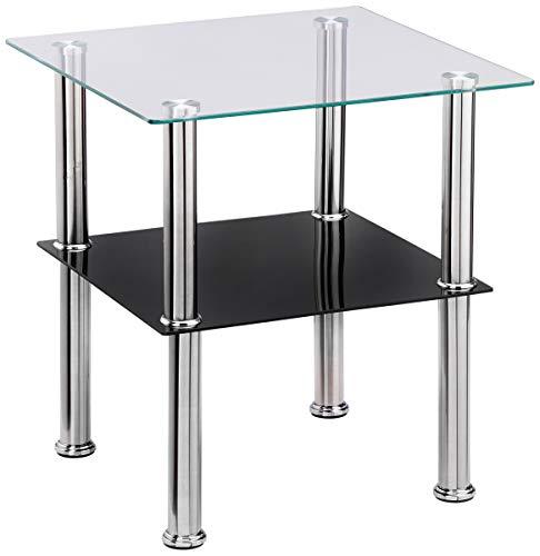 Haku Mobel mesa auxiliar, vidrio, acero inoxidable negro, 40 x 40 x 42 cm