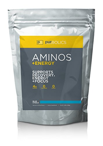 Purbolics Aminos + Energy | Supports Recovery, Energy & Focus | 95mg of Caffeine, 0 Calories & 60 Servings (Blue Steele) (Get Energy Empower Your Body Love Your Life)