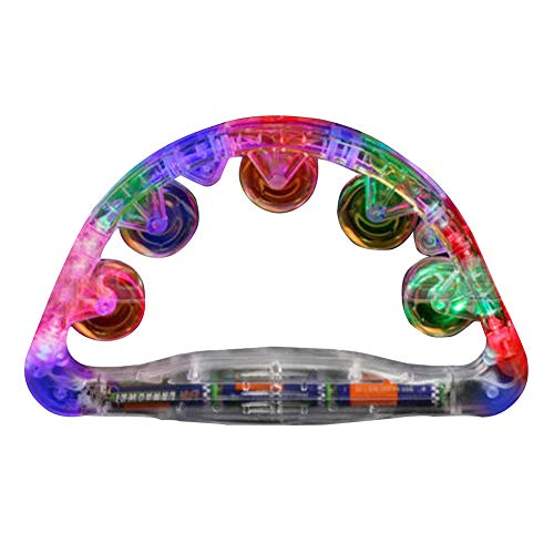 Flashing Tambourine, Handheld Sensory Led Light Up Shaking Sensory Toy, Tambourine Style Flash Sway Bells(Multi Color)