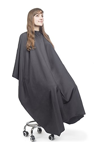- Salon Supply Co Hair Cutting Cape Salon Professional - Lightweight Water Resistant - Snap Closure 60 inches x 57.5 inches for Haircuts