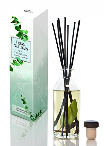 Eucalyptus Spearmint STRESS RELIEF Reed Diffuser Oil & Reed Sticks Gift Set | Urban Naturals Air Freshener for Bathroom, Kitchen, Bedroom | Best Relaxation Gift Idea