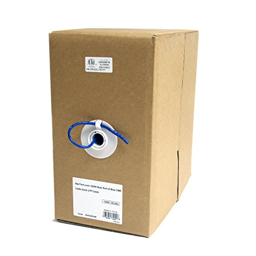 StarTech.com 1000ft CAT5e Ethernet Cable - Blue - Bulk Roll - Solid UTP Cable - CMR Rated - Box of CAT5e Network Wire Cable (WIRC5ECMR) ()