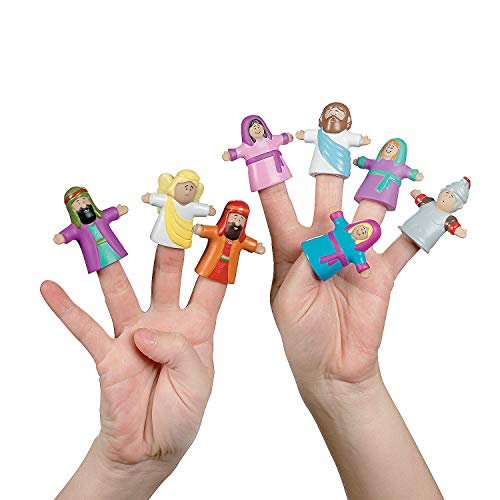 Fun Express He Lives Religious Figures Vinyl Finger Puppets - 24 Pieces