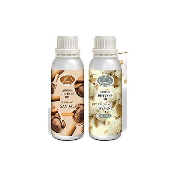 LIELA - Vaporizer Oil ; Aroma Oil ; burner oil : essential fragrance oil Set of 2 in Aluminum Bottles 250 ml. each Highly Premium and Pure Fragrance Sandal & Jasmine (total 500 ml.)