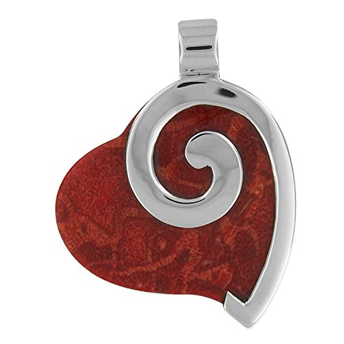 Sterling Silver Red Sponge Coral Heart P - Sponge Coral Pendant Shopping Results
