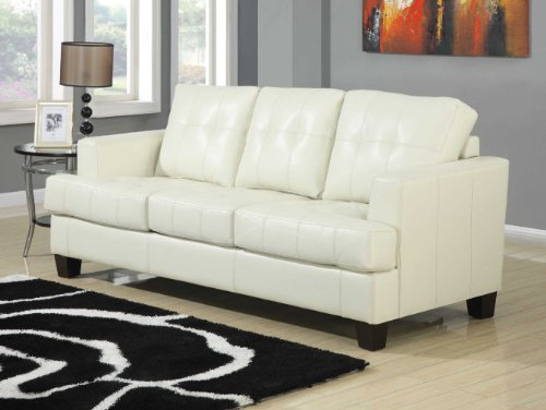 Coaster Home Furnishings Contemporary Sleeper, Cream Samuel Black Bonded Leather
