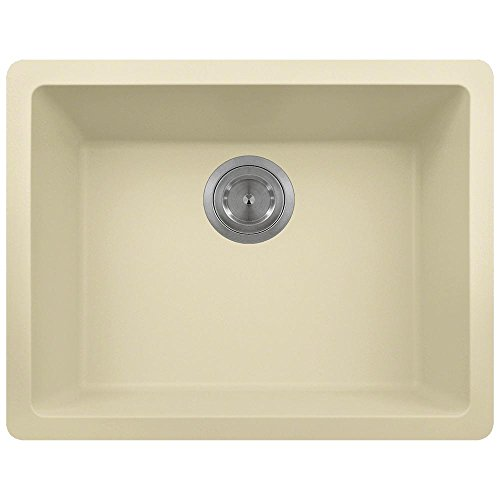 808 Dual-mount Single Bowl Quartz Kitchen Sink, Beige, No Additional Accessories