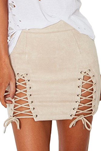 Almaree Women's Soft Faux Suede Side Slit Bandage Bodycon Mini Skirt Dress Beige M - Suede Leather Mini