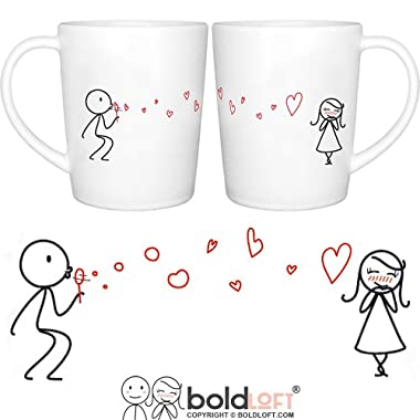 BOLDLOFT®  From My Heart to Yours  His and Hers Matching Couple Coffee Mugs-Cute Couples Gifts,Valentines Gifts for Her,Valentines Day Gifts for Girlfriend,His and Hers Gifts,Anniversary Gifts for Her