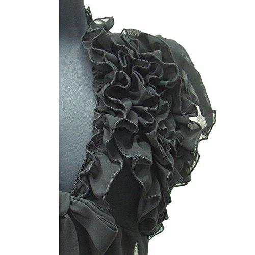 ボレロ 半袖 カーディガン ジャケット 半袖ボレロ ラッフル フリル パフスリーブ ベージュ ブラック