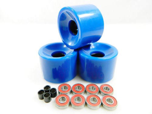 70mm Longboard Skateboard Wheels + ABEC 7 Bearings Spacers (Solid Blue)
