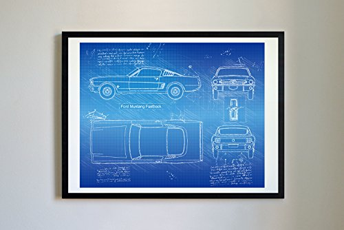 DolanPaperCo #306 Ford Mustang Fastback 1965 Art Print Art Print, da Vinci Sketch - Unframed - Multiple Size/Color Options (17x22, Blueprint)