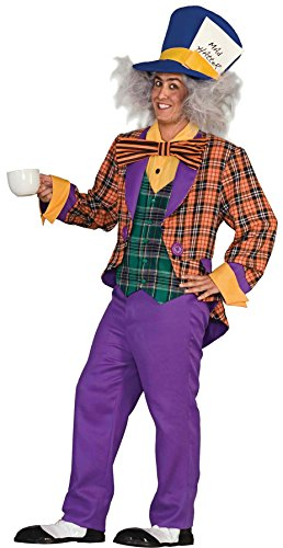 UHC Men's Mad Hatter Outfit Alice in Wonderland Theme Party Costume, OS (Up to 42)