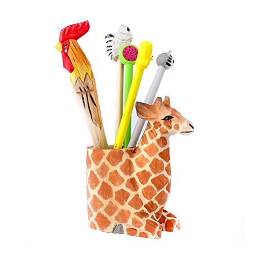 Sanhong Creative Wood Carving Animal Handicrafts Pen and Pencil Holder Office Desk Supplies Organizer Pencil Cup (Giraffe)