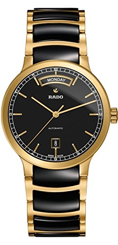 Rado-Centrix-Day-Date-Black-Dial-Gold-plated-Black-Ceramic-Mens-Watch-R30157162