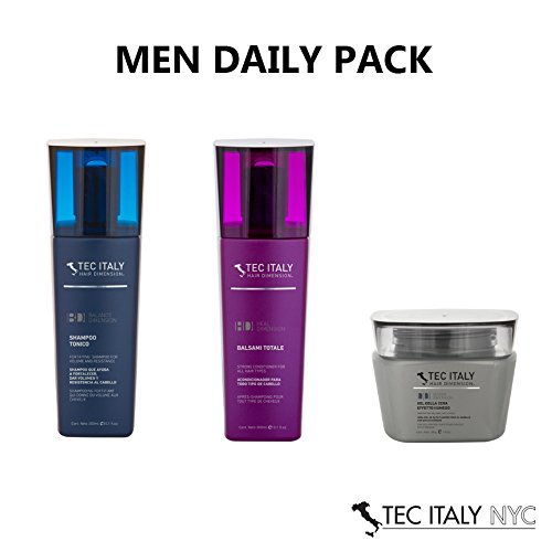 Tec Italy Men Daily Pack: Shampoo Tonico 10.1 Oz. + Balsami Totale 10.1 Oz. + Gel De La Cera Effecto Humedo 9.8 Oz.