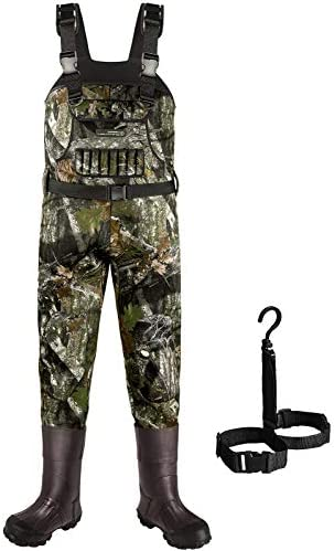 Dark Lightning Neoprene Hunting Waders for Men and Women with 800G Insulated Rubber Boots, Mens/Womens High Chest Camo Fishing Wader