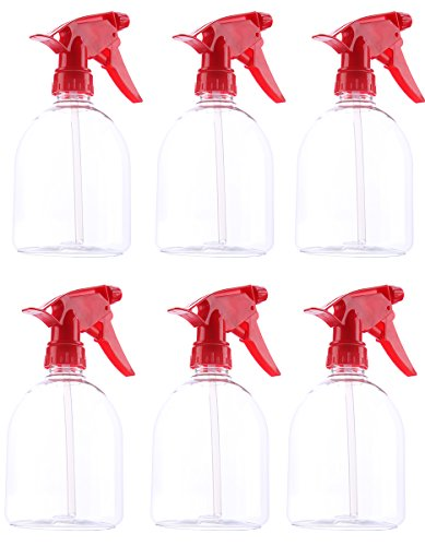 Red Plastic Spray Bottles - 500mL Capacity, Spray Trigger - 6 Pack by Juvale