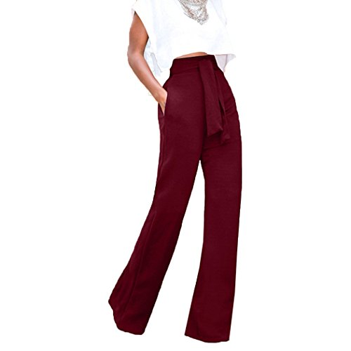 Flare Slacks - Raylans Women's High Waist Long Pants Wide Leg Trousers with Belt Wine L