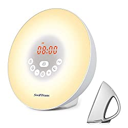 Wake Up Light with Sunrise Simulation, Swiftrans Alarm Clock with 5 Natural Sounds to Wake Up, 7 Color Changes, FM Radio, Snooze Function and Sunset Simulation, Suitable for All Kinds of People