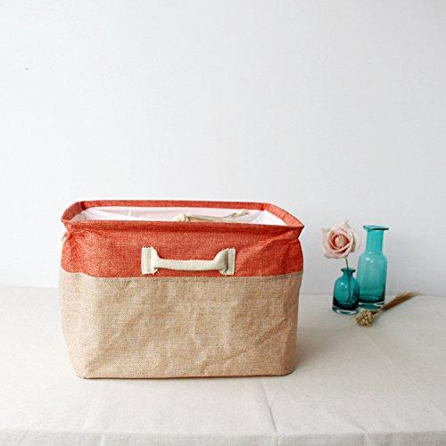 Luckyfree Panier à linge en coton d'vêtements sales jouets Panier Panier de rangement, snack-Débris Orange